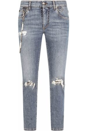 Dolce & Gabbana Men Straight - Ripped-detail denim jeans