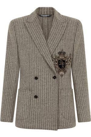Dolce & Gabbana Men Blazers - Appliqué double-breasted blazer - Grey