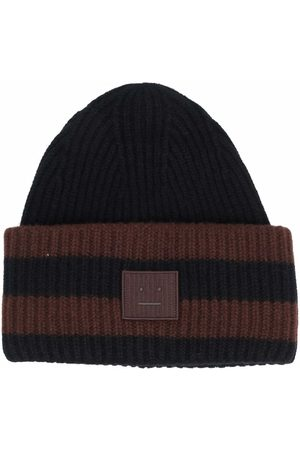 Acne Studios Beanies - Face-patch striped ribbed-knit beanie
