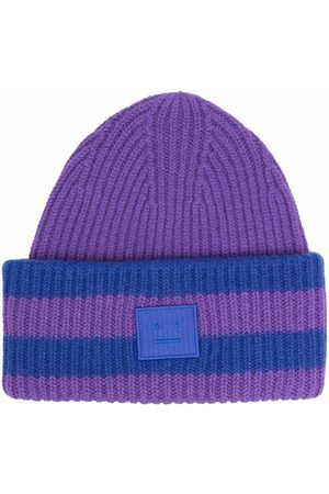 Acne Studios Beanies - Face-patch striped ribbed knit beanie