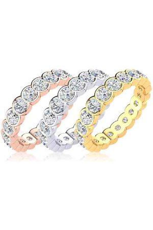 SuperJeweler Eternity Ring Size 7 1.5 Carat Round Diamond Bezel Set Eternity Ring in 14K White