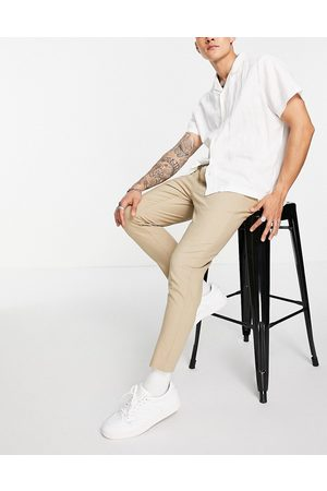 Only & Sons Drawstring linen mix pants in -Neutral