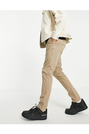 SELECTED Men Chinos - Skinny fit stretch chinos in sand with organic cotton-Neutral