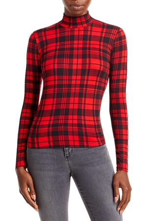 Fore Plaid Turtleneck Top