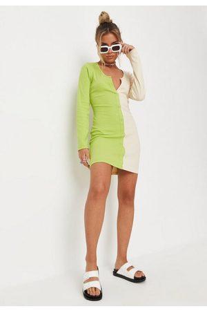 Missguided Lime Rib Spliced Button Down Mini Dress