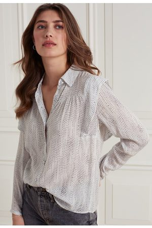 YaYa Printed long sleeve button up blouse with ruffles
