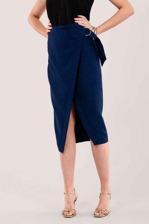 Closet London Navy D-Ring Pencil Skirt