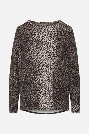 Majestic Filatures Beige/Black Leopard Print Long-Sleeved Round Neck Top