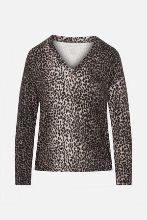 Majestic Filatures Beige/Black Leopard Print Long Sleeved V-Neck Top