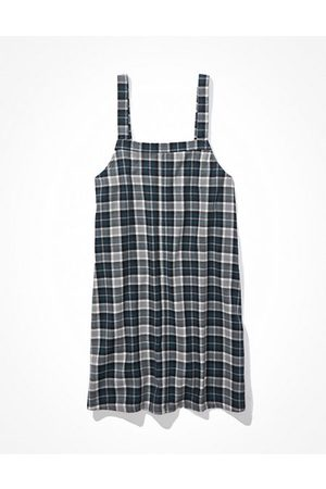 American Eagle Outfitters Plaid Overall Mini Dress Women's XXS