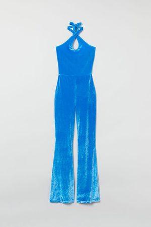 H&M Velour Halterneck Jumpsuit