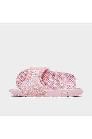 PUMA Women's Cool Cat Sherpa Slide Sandals in Pink/Lotus Size 6.0