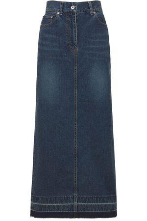 SACAI Cotton Denim Long Skirt
