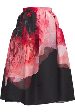 Alexander McQueen Women Printed Skirts - Crushed Petal Print Midi Skirt