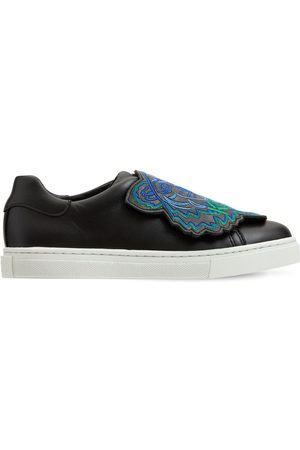 Kenzo Boys Flat Shoes - Embroidered Slip-on Leather Sneakers