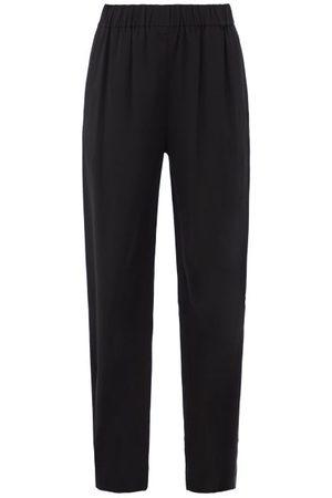CO Women Straight Leg Pants - High-rise Crepe Straight-leg Trousers - Womens