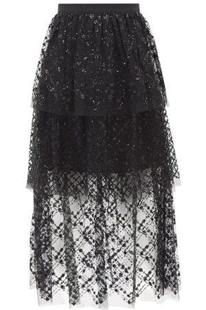 Self-Portrait Women Midi Skirts - Portrait - Tiered Sequin-chiffon Midi Skirt - Womens