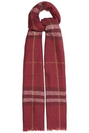 Burberry Women Scarves - Giant Check Tb-monogram Wool-blend Scarf - Womens - Burgundy Multi