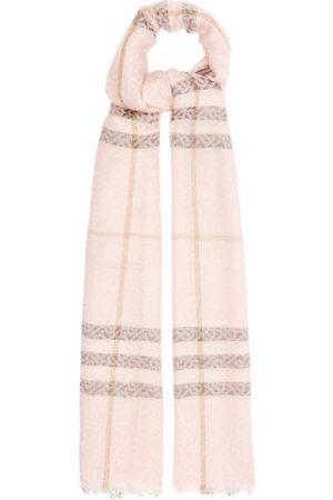 Burberry Giant Check Tb-monogram Wool-blend Scarf - Womens - Multi
