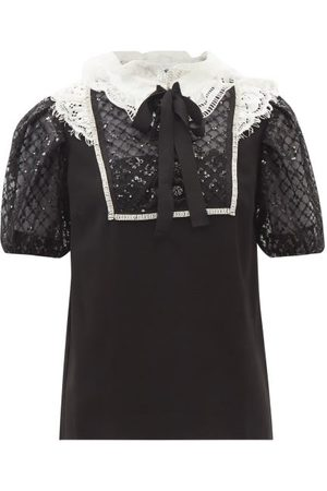 Self-Portrait Women Tops - Portrait - Embellished Lace And Crepe Top - Womens