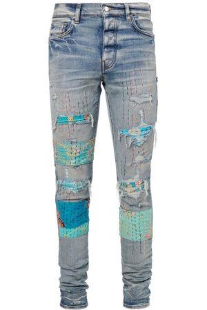 AMIRI Art Patch Topstitched Distressed Skinny Jeans - Mens