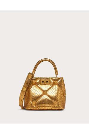 VALENTINO GARAVANI Women Shoulder Bags - Small Roman Stud The Handle Bag In Metallic Snakeskin Women Antique Brass 100% Lambskin OneSize