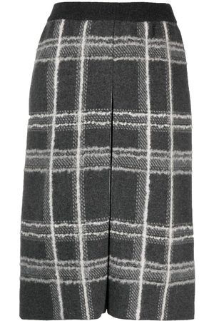 Thom Browne Women Printed Skirts - Check pattern pencil skirt - Grey