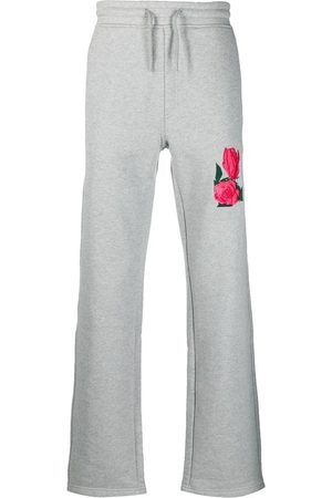 Soulland Men Sweatpants - Conor floral-embroidered track pants - Grey