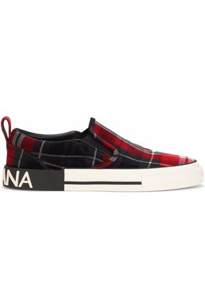 Dolce & Gabbana Men Flat Shoes - Portofino Light tartan-check sneakers