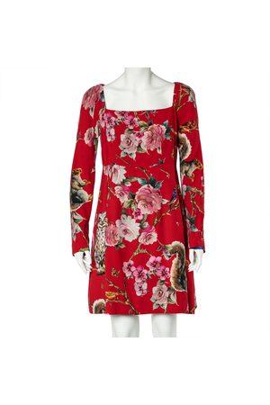 Dolce & Gabbana Women Printed Dresses - Crepe Enchanted Forest Print Long Sleeve Dress M