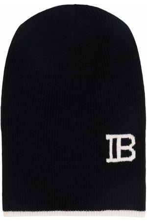 Balmain Men Beanies - Logo-knit contrast-trim beanie