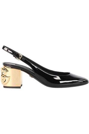 Dolce & Gabbana Patent Leather DG Karol heel Slingback Sandals Size EU 37