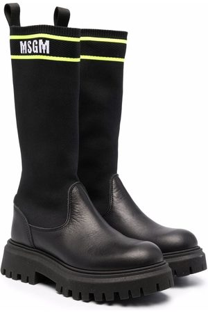 Msgm Girls Thigh High Boots - Sock-style panel leather boots