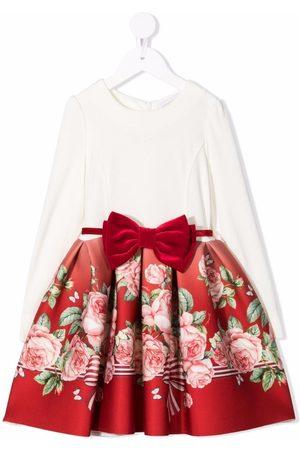 MONNALISA Girls Printed Dresses - Bow-waist rose-print skirt dress - Neutrals