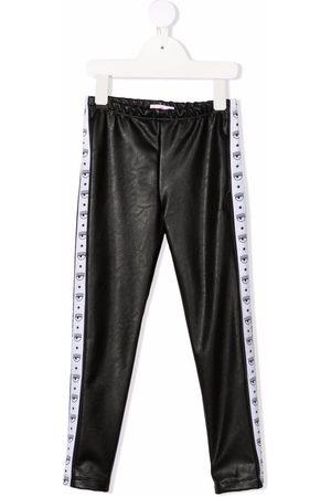 Chiara Ferragni Girls Leggings - Logo-tape faux-leather leggings