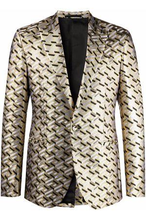 VERSACE Men Blazers - Greca-pattern single-breasted blazer