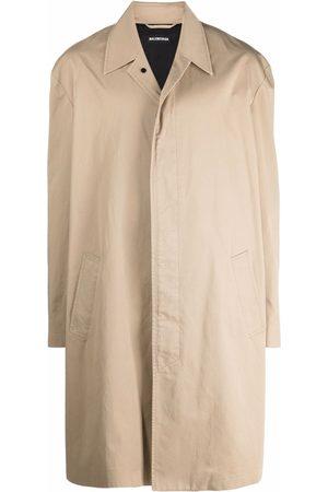 Balenciaga Men Coats - Embroidered-logo car coat - Neutrals