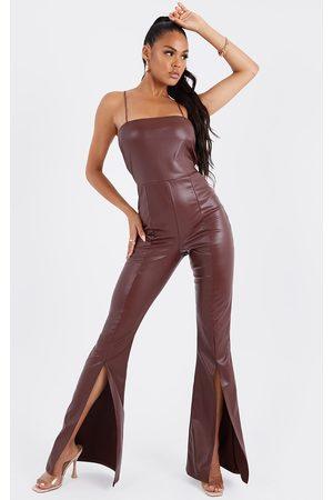 PRETTYLITTLETHING Chocolate Pu Strappy Split Hem Flare Jumpsuit