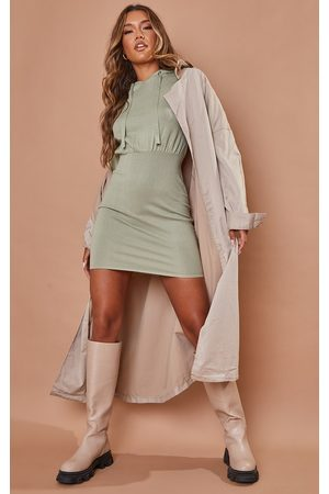 PRETTYLITTLETHING Women Party Dresses - Sage Hooded Knitted Mini Dress