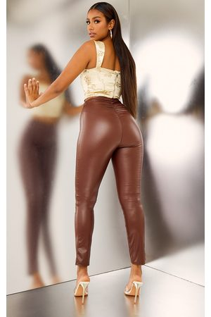 PRETTYLITTLETHING Women Leggings - Chocolate Ruched Faux Leather Legging