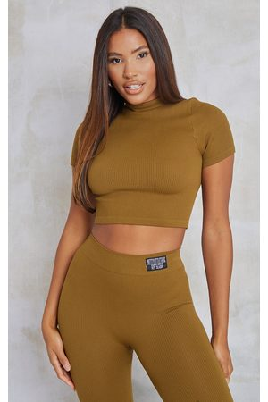 PRETTYLITTLETHING Women Crop Tops - Olive Structured Contour Ribbed Short Sleeve High Neck Crop Top
