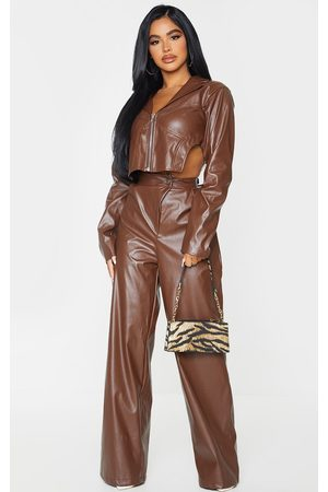 PRETTYLITTLETHING Women Straight Leg Pants - Petite Chocolate Pu Straight Leg Pants