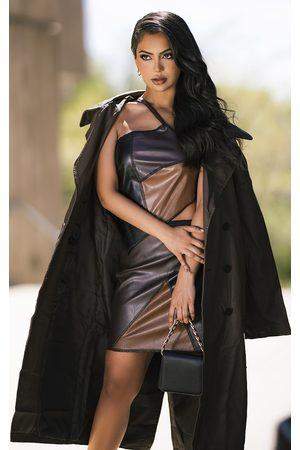 PRETTYLITTLETHING Women Asymmetrical Dresses - Contrast Faux Leather Asymmetric Mini Skirt