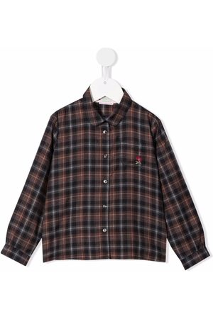 BONPOINT Girls Shirts - Embroidered-logo check-print shirt