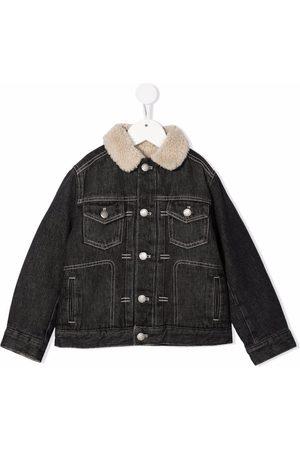 BONPOINT Boys Denim Jackets - Faux-shearling collar denim jacket
