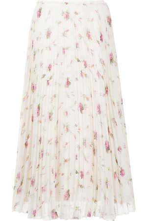 RED Valentino Women Printed Skirts - Floral-print pleated skirt - Neutrals