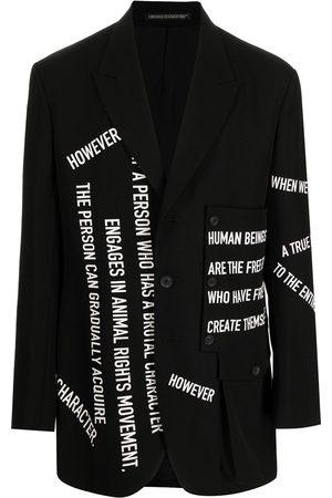 YOHJI YAMAMOTO Slogan-print wool blazer
