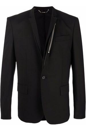 Les Hommes Zip-detail single-breasted blazer
