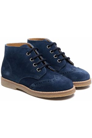 GALLUCCI Boys Ankle Boots - Brogue suede ankle boots