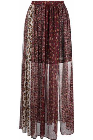 Twin-Set Leopard-print sheer skirt